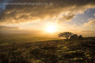Caradon hill sunrise with Kitt hill in the distance