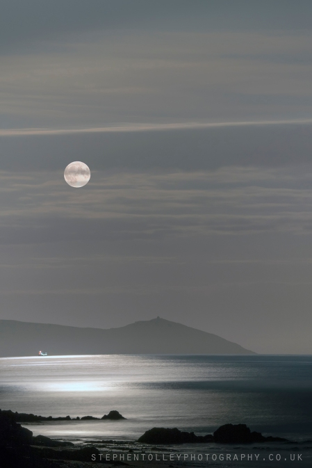 Harvest Moon rising over Rame Head